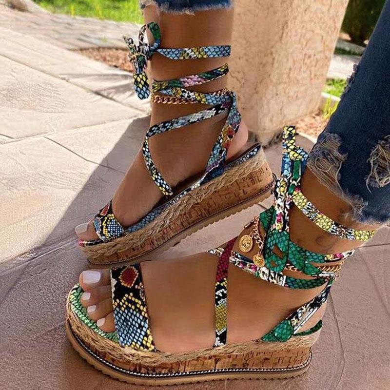 Women Rainbow Snake Leopard  Prints Lace Up Platform Sandals