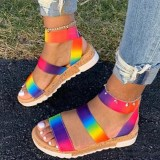 Women Rainbow Lace Up Strap Flat Wedge Sandals With Thick Soles