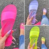 Women Jelly Transparent Flat Sandals Slippers