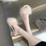 Women Fluffy Feather High Heel Transparent Pumps Sandals Shoes