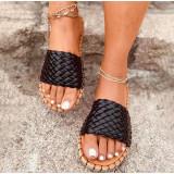 Women Weave Cross Border Flat Sandals Summer Slippers