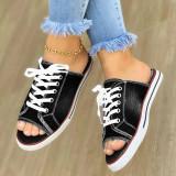 Women Canvas Denim Lace Up Flat Shoes Slippers
