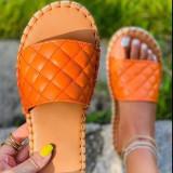Women Plaid Sandals Slippers With Hemp Rope Bottom