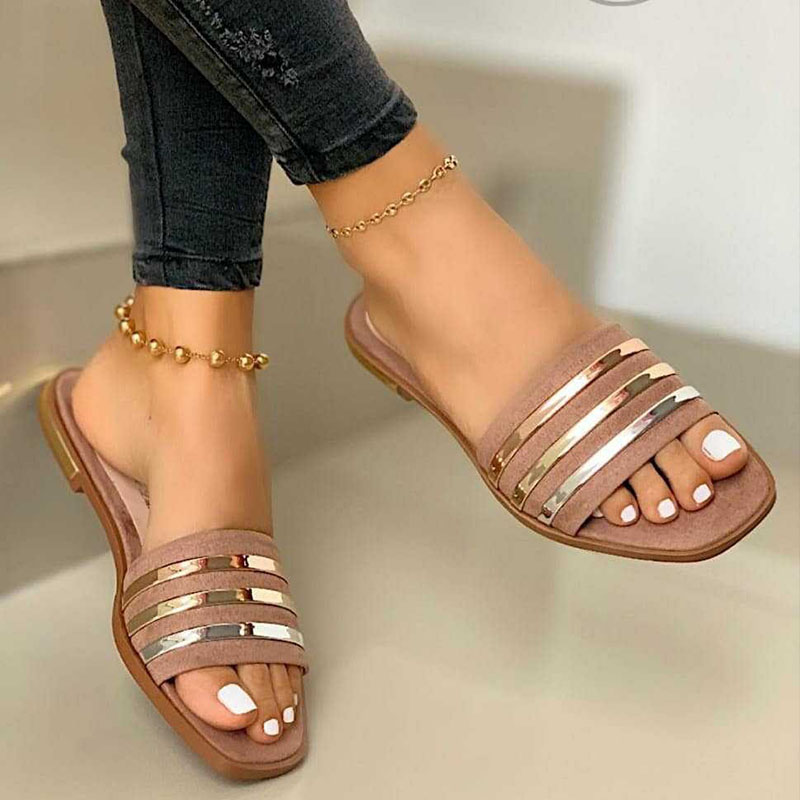 Women Metal Striped Flat Sandals Slippers