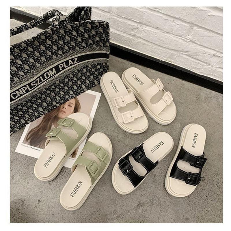 Women Comfort Slides Double Buckle Flat Sandals Slippers