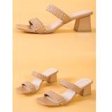 Women Woven Leather Comfort Walking Flip Flops High Heel Pump Sandals