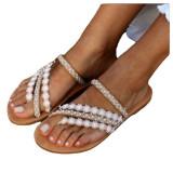 Women Petal Lace Pearl Flat Sandals