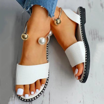 Women Open Toe Pearl Flat Sandals Shoes