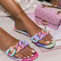 Women Candy Rainbow Rings Flat Summer Slippers