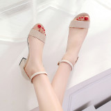 Women Classic High Heel Chunky Sandals with Ankle Strap