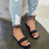 Women Ring-Strap Lace Up Flat Sandals