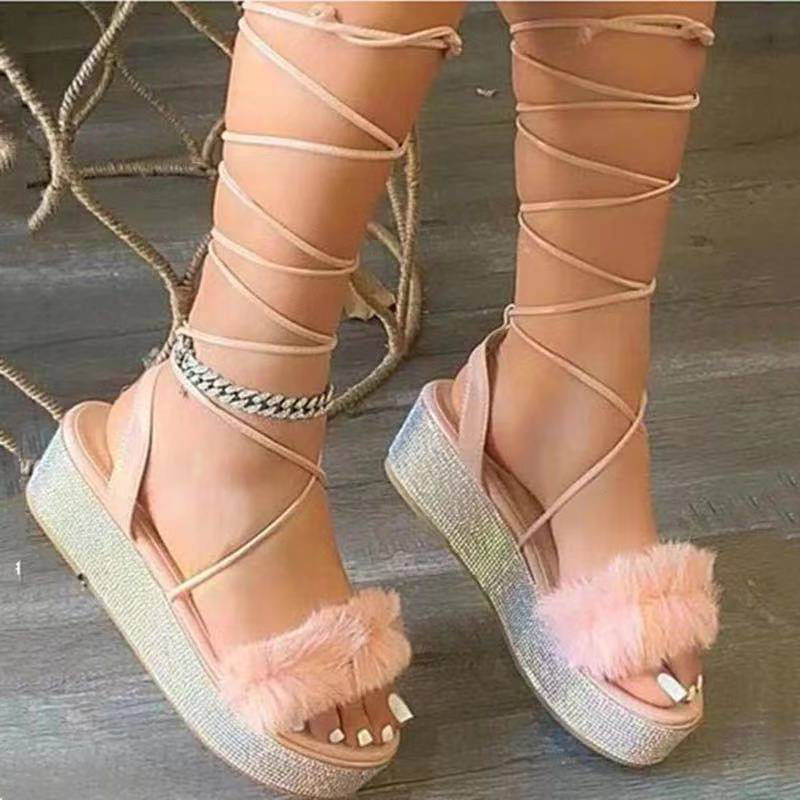 Women Plush Crystal Sequins Lace Up Flat Sandals With Thick Soles