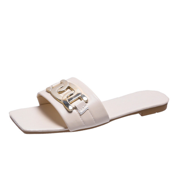 Women Square Metal Buckle Flat Sandals Slippers
