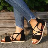Women Leopard Lace Up Flat Sandals Shoes