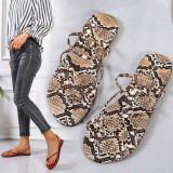 Women Snake Print Flip Flops Sandal Flat Beach Shoes