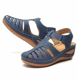Women Hollow Out Suede Wedge Sandals