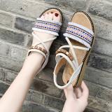 Women Comfortable Tassels Hand Woven Flat Boho Sandals