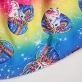 Girl Dresses Ruffles Sleeves Rainbow Unicorn A-line Dresses