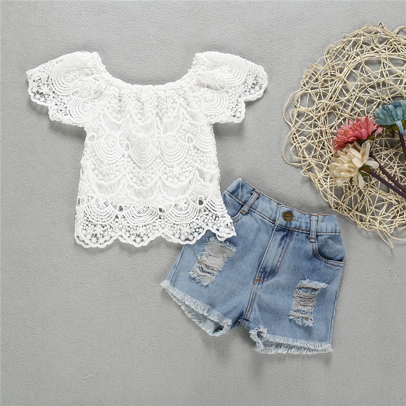 Toddler Girl Hollow Cut Lace Top and Ripped Denim Shorts Two Pieces Sets