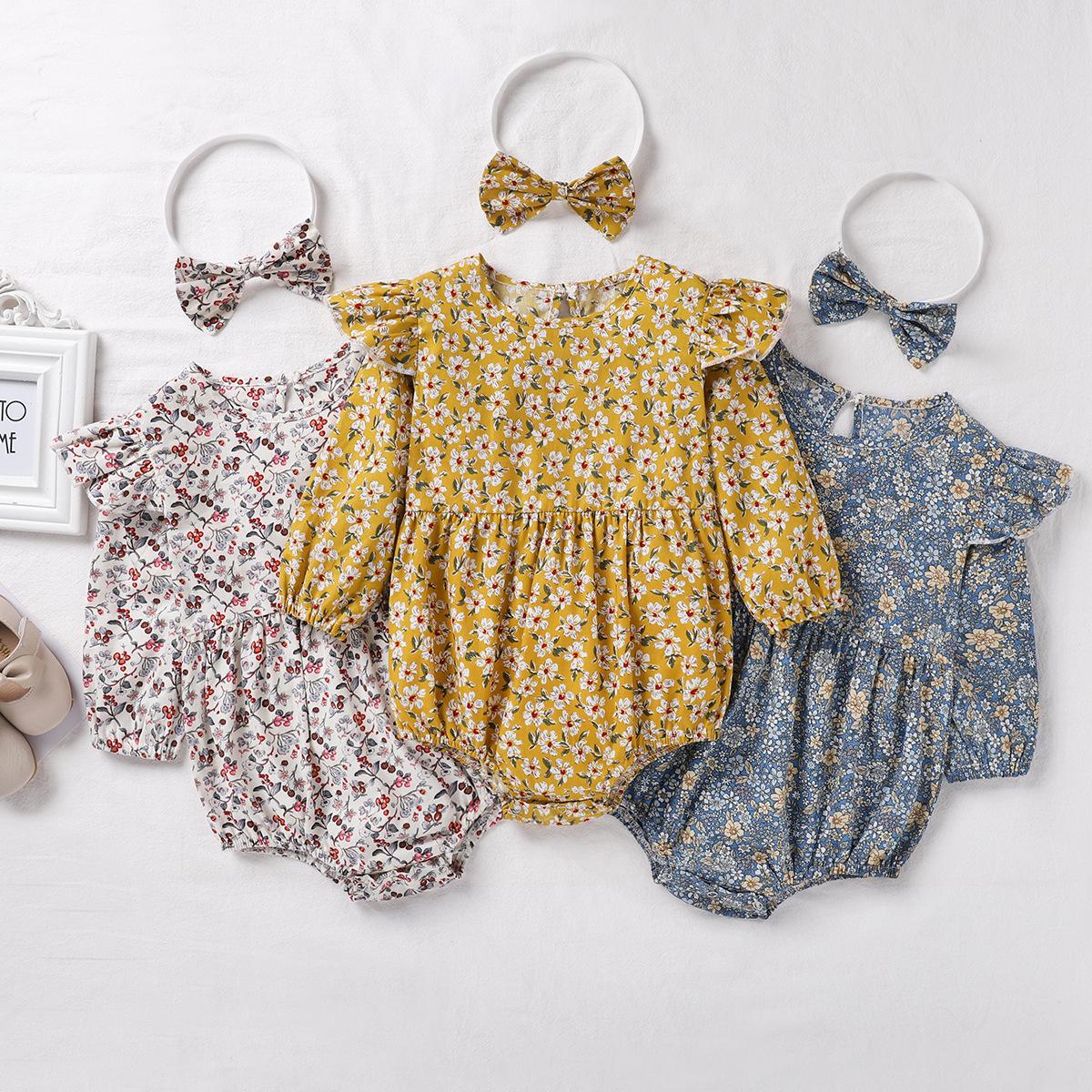 Baby Flowers Pattern Long Sleeves Cute Bodysuit