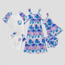 Blue and Purple Tie-Dye Dress and T-Shirt Matching Family Sets
