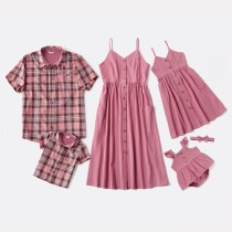 Matching Family Mom Pink Halter Dresses and Dad Short Sleeves Plaid Shirt