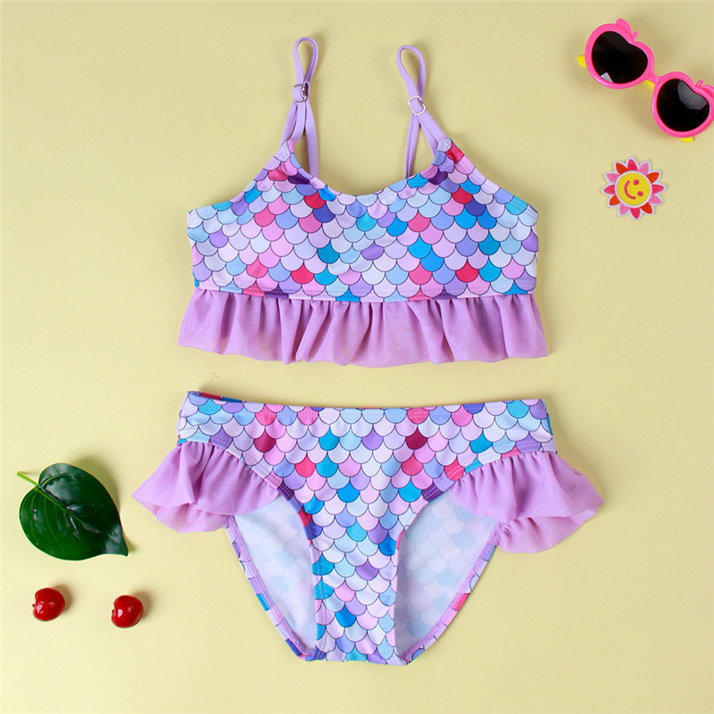 Toddler Kids Girl Ruffles Ombre Fish Scales Beach Swimwear Two Pieces Swimsuit