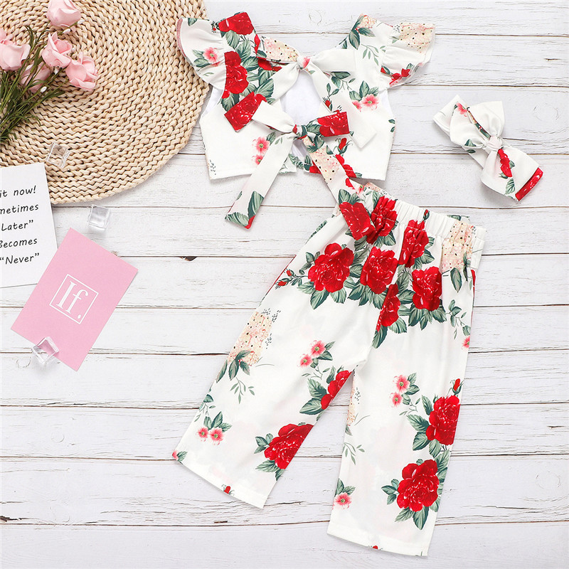 Toddler Girl Rose Floral Bowknot Ruffles Top and Pants Two Pieces Sets