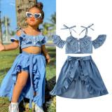 Toddler Girl Blue Polka Dots Halter Top Dovetail Dresses Shorts 3PCS Sets