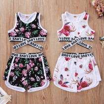 Toddler Girl Floral Love Vest Top and Shorts Two Pieces Sets