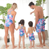 Family Matching Swimwear Tropical Floral Printed One-piece Swimsuit and Truck Shorts