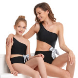 Mommy and Me Matching Swimwear Cut Out Waist With Bowknot One Piece Swimsuit