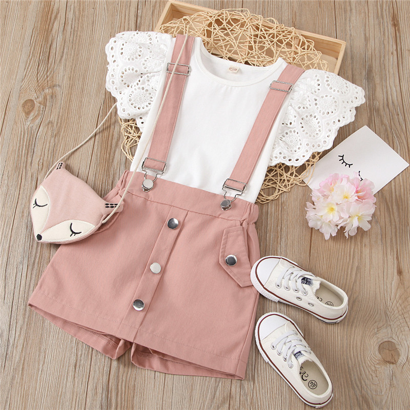 Toddler Girl Hollow Cut Ruffles Sleeves Top Pink Overall Dress Two Pieces Sets