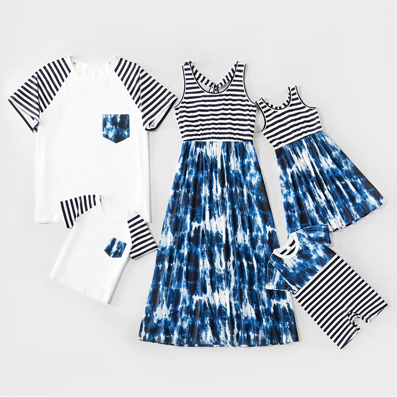 Matching Family Suit Dark Blue Tie-dye Black and White Stripes Dress and T-shirt