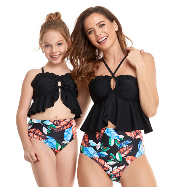 Mommy and Me Matching Swimwear Lotus Leaf Cover Belly Bikini Two Pieces Swimsuit