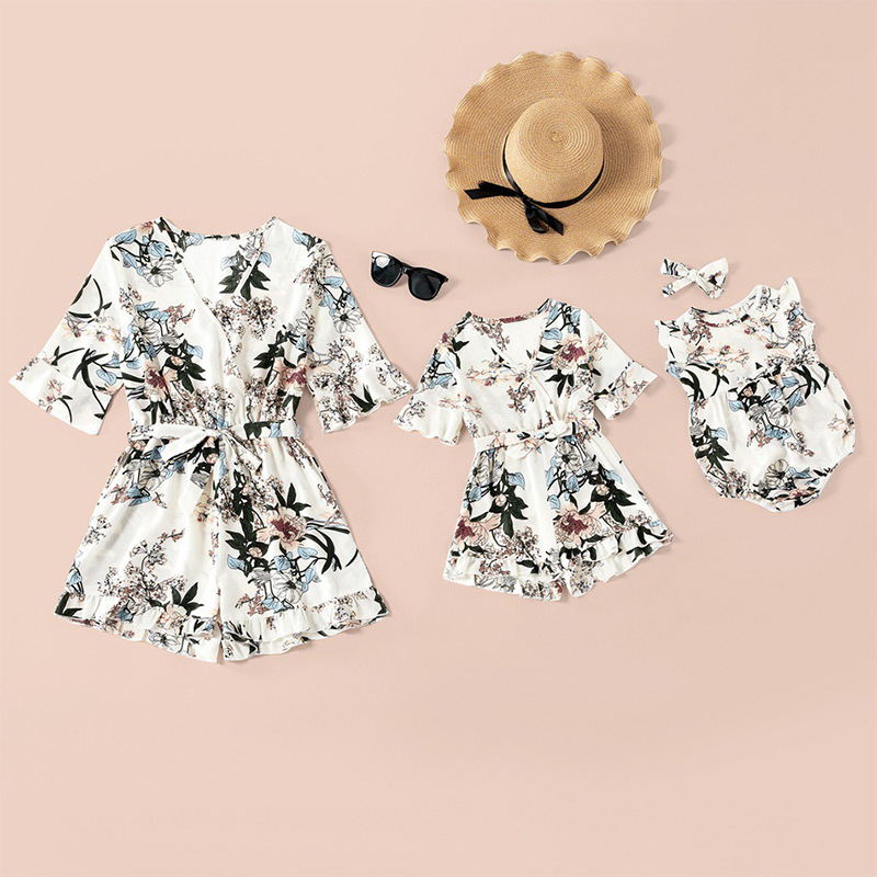 Mommy and Me Matching Floral Bell Sleeves Romper Jumpsuit