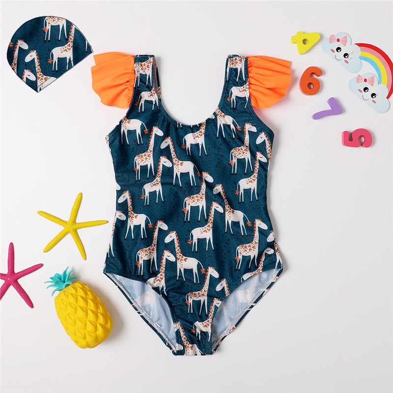 Toddler Kids Girl Giraffes Pattern Navy One-piece Swimsuit