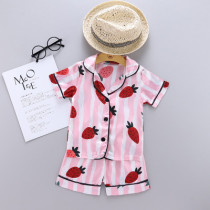 Toddler Kids Girl Prints Stripe Strawberry Summer Short Pajamas Sleepwear Sets