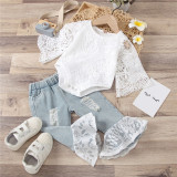 Baby Girl Lace Hollow Cut Bodysuit and Lace Ripped Flared Pants Two Pieces