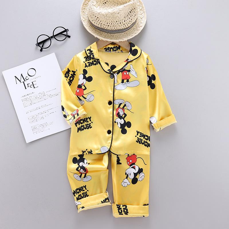 Toddler Kids Boy Prints Mickey Long Sleeves Pajamas Rayon Silk Sleepwear Sets