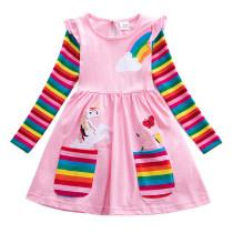 Toddler Girl Rainbow Unicorn Pocketed Dresses Long Sleeve Dresses