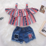 Toddler Girl Independence Day Strap Ruffle Top Ripped Denim Shorts Two Pieces Sets