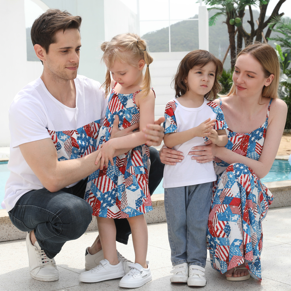 Matching Family American Independence Day Dress And T-Shirt