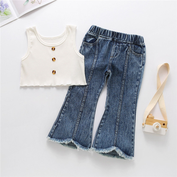 Toddler Girl Knit Tank Vest Top and Flared Jeans Two Pieces Sets