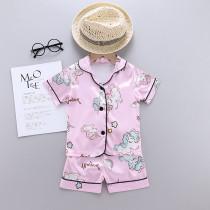 Toddler Kids Girl Unicorns Summer Short Pajamas Rayon Silk Sleepwear Sets
