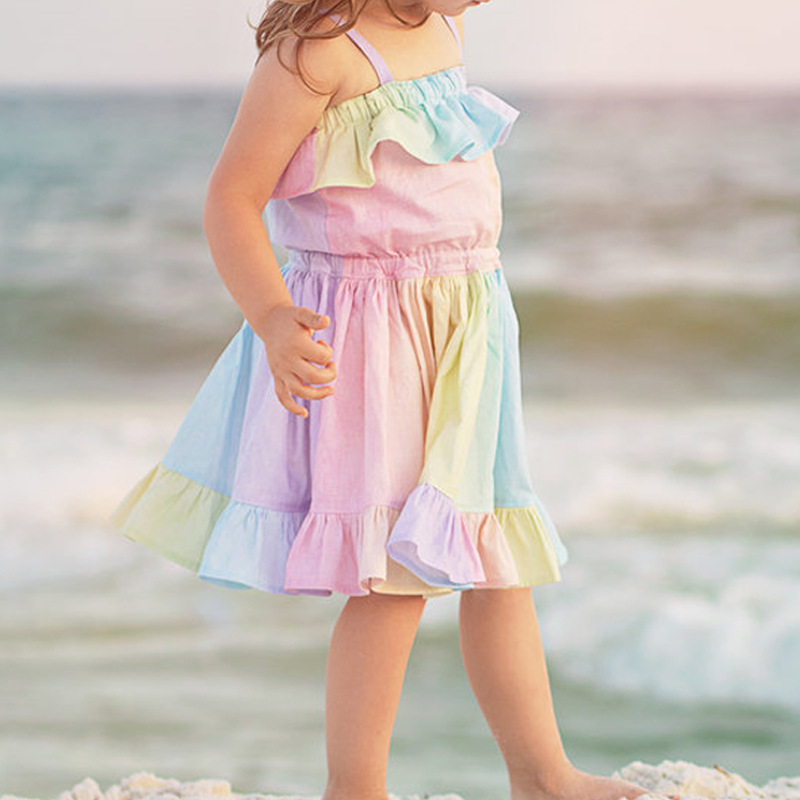 Girl Dresses Rainbow Flounce Straps Summer Dresses