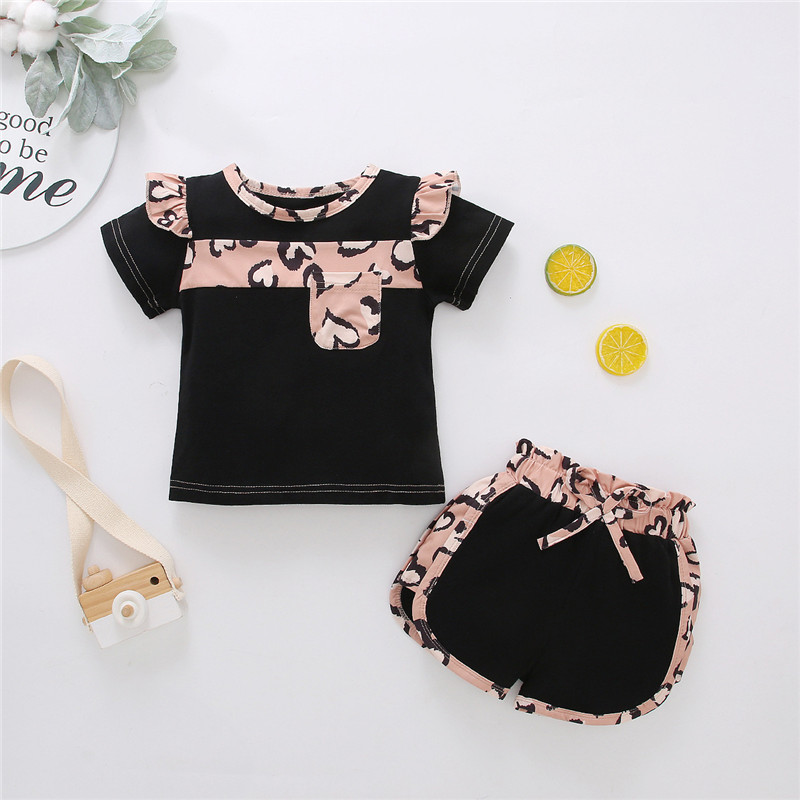 Toddler Girl Leopard Matching Ruffles T-shirt and Shorts Two Pieces Sets