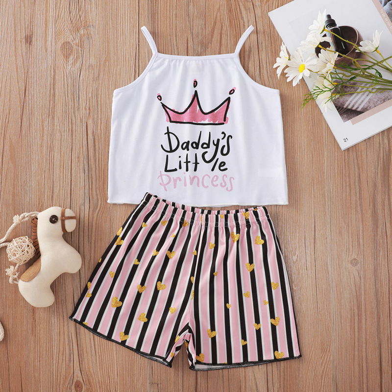 Toddler Girl Crown Princess Slip Tops and Pink Stripes Hearts Shorts Two Pieces Sets