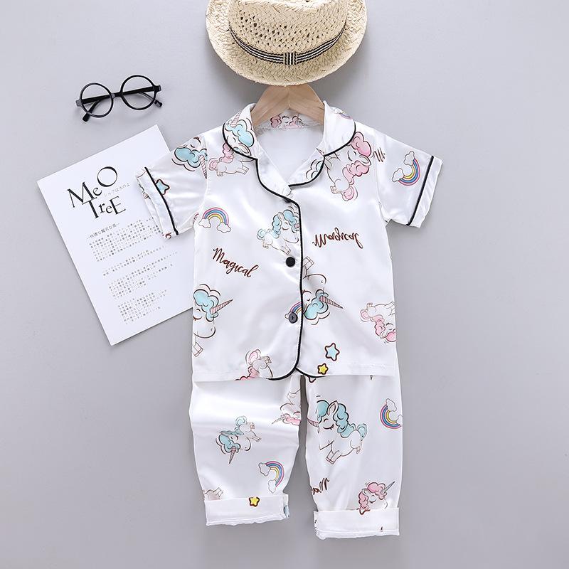 Toddler Kids Girl Prints Unicorns Summer Short Pajamas Rayon Silk Sleepwear Sets
