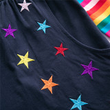 Toddler Girl Embroidery Rainbow Butterfly Stars Pocketed Dresses Long Sleeve Dresses